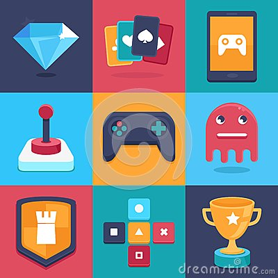 Free Vector Online And Mobile Game Icons And Signs Stock Photography - 38962692