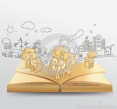 Vector Open Book With Creative Drawing Elephant Id Royalty Free Stock ...