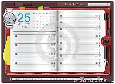 Vector open personal organizer template