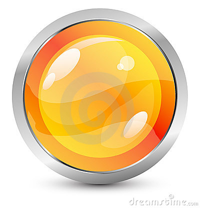Free Vector Orange Button With Metal Stroke Royalty Free Stock Images - 10761099