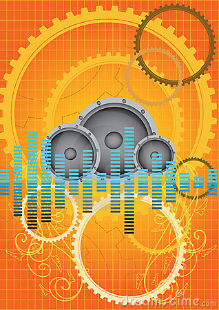 vector orange gears music background