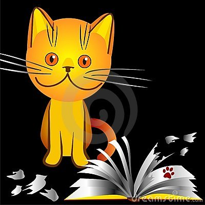 Vector Orange kitten bully broke a book