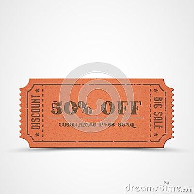 Vector orange vintage sale coupon