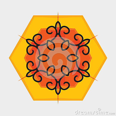 Vector oriental flower ornament. Graphic art design for your company.
