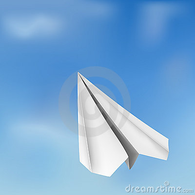 Vector origami flying airplane