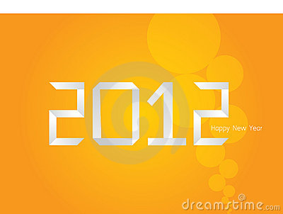 Vector Origami orange New Year card 2012