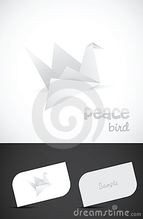 Vector origami paper bird icon