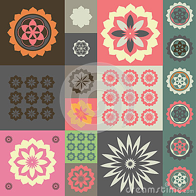 Vector ornament from different flower symbols