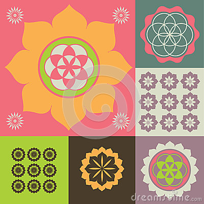 Vector ornament from lotus flower symbols