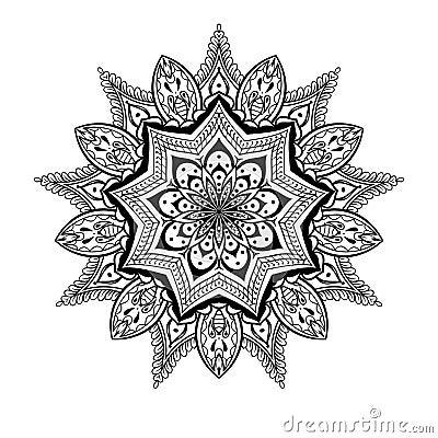 Vector Ornamental Lotus Mandala Ethnic Zentangled Henna