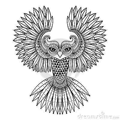 Vector Ornamental Owl Ethnic Zentangled Mascot Amulet