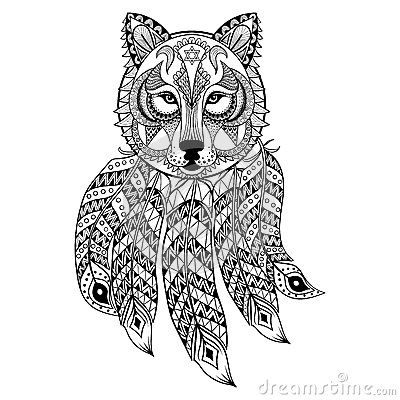 Vector Ornamental Wolf With Dreamcatcher Ethnic