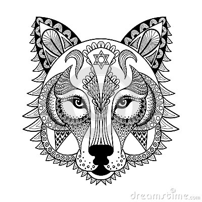 Vector Ornamental Wolf Ethnic Zentangled Mascot Amulet