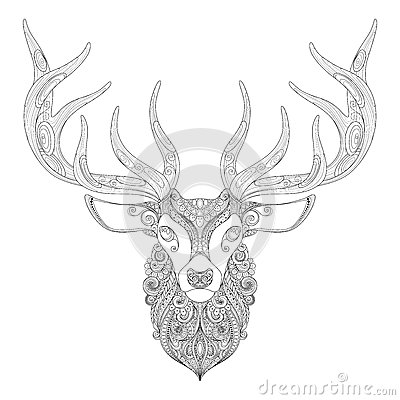 Stock Illustration Vector Ornate Deer Horned Head Patterned Tribal Monochrome Design Symbol New Year Christmas Holidays Image61122229 on deer head pattern