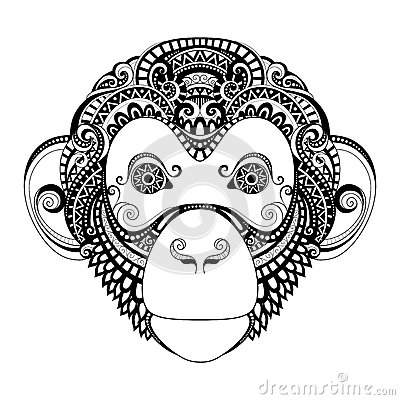 Free Vector Ornate Monkey Head Stock Photos - 57661943