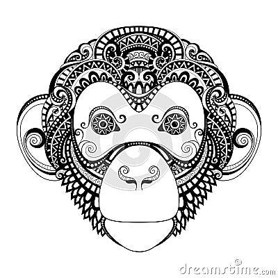 Free Vector Ornate Monkey Head Stock Photos - 57661943