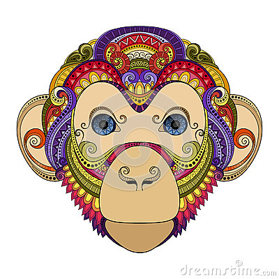 Free Vector Ornate Monkey Head Stock Images - 57661954