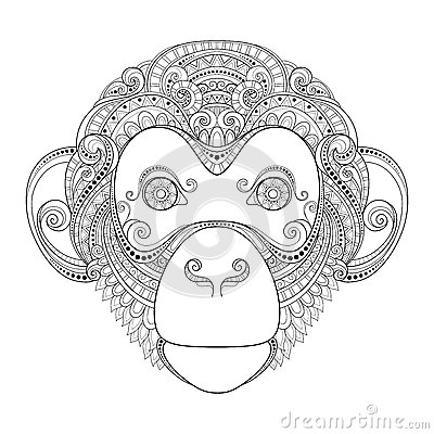 Free Vector Ornate Monkey Head Royalty Free Stock Photography - 57997267