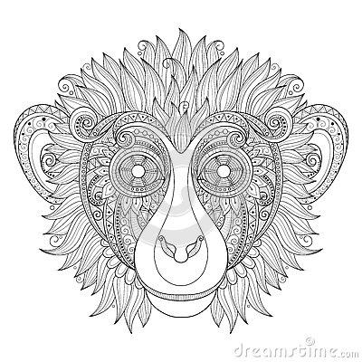 Free Vector Ornate Monkey Head Stock Photography - 59884952