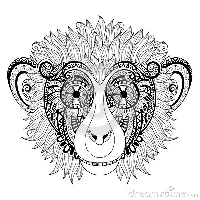 Free Vector Ornate Monkey Head Royalty Free Stock Images - 60226249