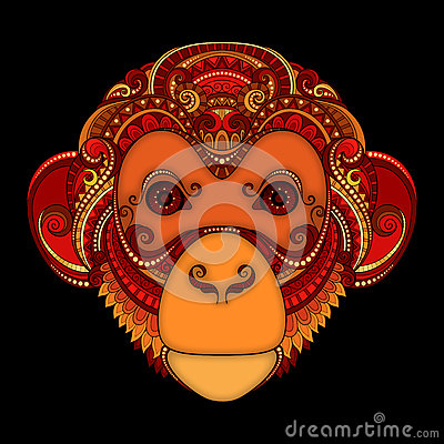 Free Vector Ornate Monkey Head. Patterned Tribal Colored Design Royalty Free Stock Images - 58269869