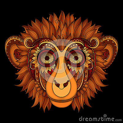 Free Vector Ornate Monkey Head. Patterned Tribal Colored Design Stock Image - 60560881