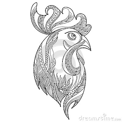 vector outline rooster or head profile in black on white background symbol of new year