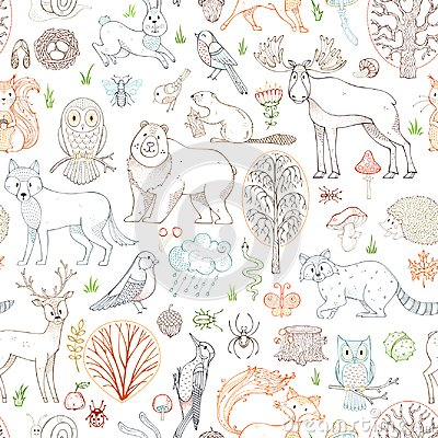 Free Vector Outlined Woodland Seamless Pattern. Royalty Free Stock Photos - 100587868