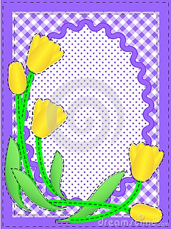 Vector Oval Border With Flowers and Copy Space