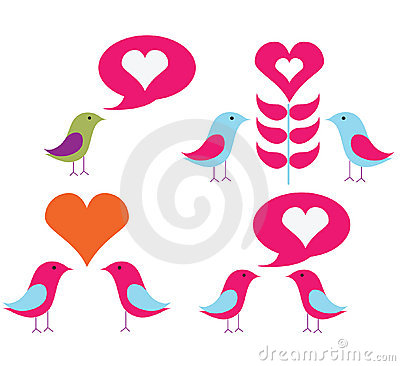 Vector pack of love birds