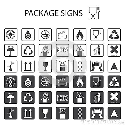 Free Vector Packaging Symbols On White Background. Shipping Icon Set Including Recycling, Fragile, The Shelf Life Of The Product, Flamm Stock Photo - 116554840
