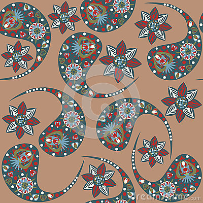 Free Vector Paisley Seamless Pattern Stock Images - 38627364
