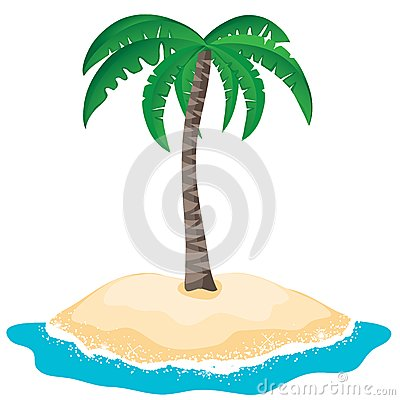 Vector palm tree on the tropical island