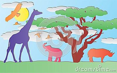 vector paper animals in africa