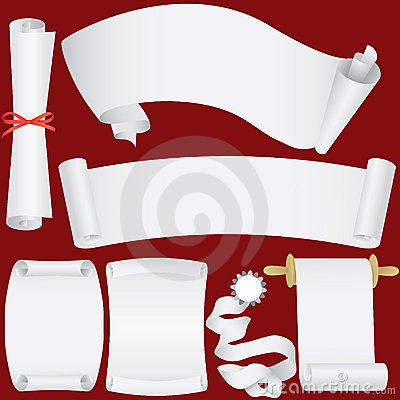 Vector paper banners, scrolls and diploma set