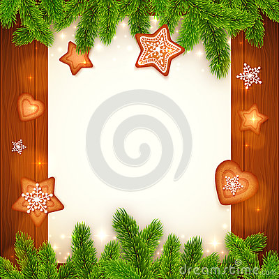 Free Vector Paper Sheet With Gingerbread And Fir Tree Royalty Free Stock Images - 46650119
