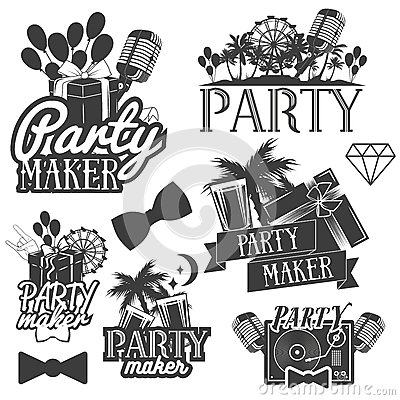 Free Vector Party Maker Set Of Emblems, Badges, Stickers Or Banners. Design Elements In Miami Vintage Style. Isolated Stock Image - 77123361