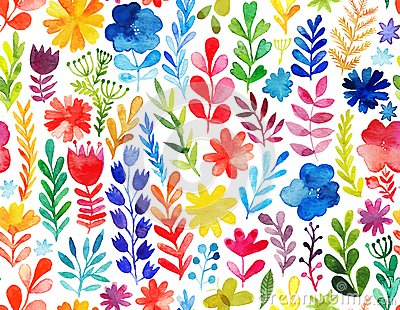 Vector pattern with flowers and plants. Floral decor. Original floral seamless background Vector Illustration