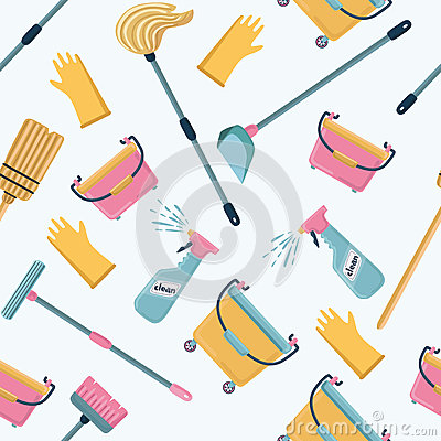 Free Vector Pattern Of Cleaning Tools. Cleaning Service. Royalty Free Stock Photos - 92149368