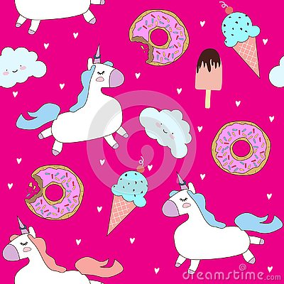 Free Vector Pattern With Cute Unicorns, Clouds, Donuts And Ice Cream. Royalty Free Stock Image - 130179556