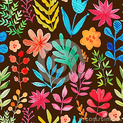 Free Vector Pattern With Flowers And Plants. Floral Decor. Original Floral Seamless Background. Bright Colors Watercolor, Autumn-summer Royalty Free Stock Photography - 51060567