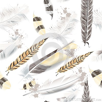 Free Vector Pattern With White Beige Feathers Stock Photos - 119023613