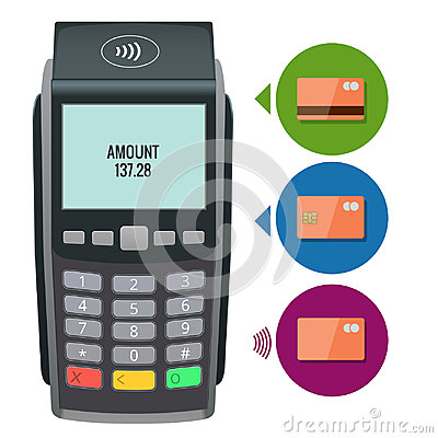 Free Vector Payment Machine And Credit Card. POS Terminal Confirms The Payment By Debit Credit Card, Invoce. Vector Royalty Free Stock Image - 97307946