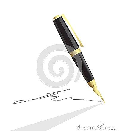 Vector pen making signature