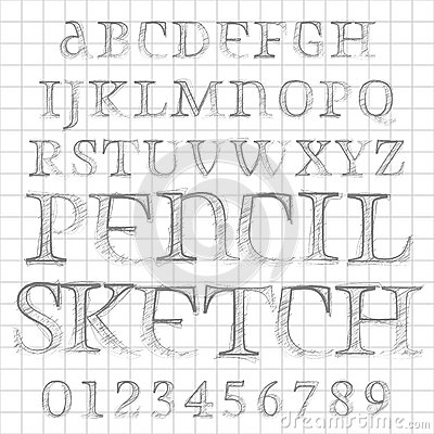 Vector pencil sketched font