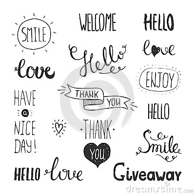 Free Vector Photo Overlays, Hand Drawn Lettering Stock Photography - 55104842