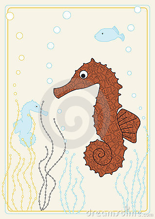 Vector picture with seahorse