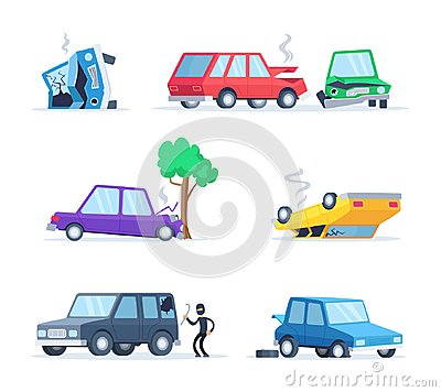 Vector pictures set of different accidents on the road. Big damage of cars Vector Illustration
