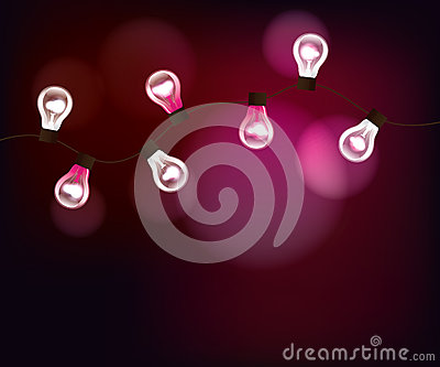 Vector pink background with garland