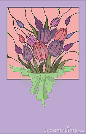 Vector pink bouquet of flowers